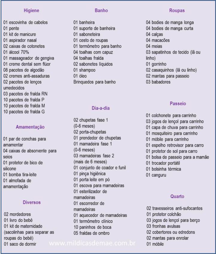 Lista De Ch   De Beb     Pleta E Atualizada