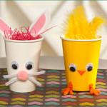 Atividades de Páscoa: coelho e pintinho em copo de papel!