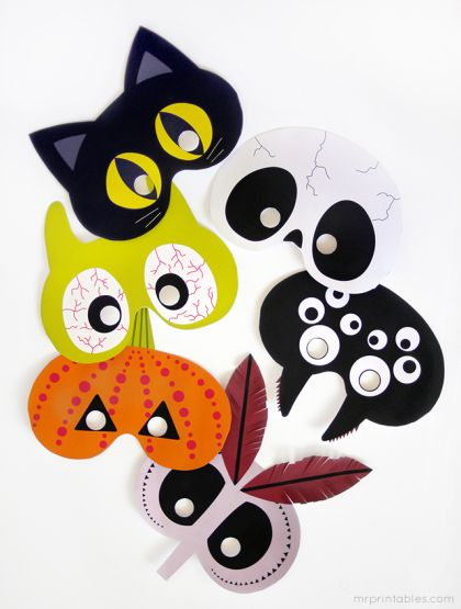 Máscaras de Halloween para imprimir!