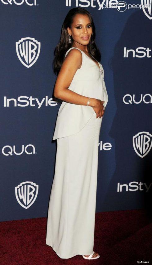 Kerry Washington, grávida no Globo de Ouro 2014