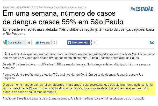 Dengue em São Paulo (importante, leia!)