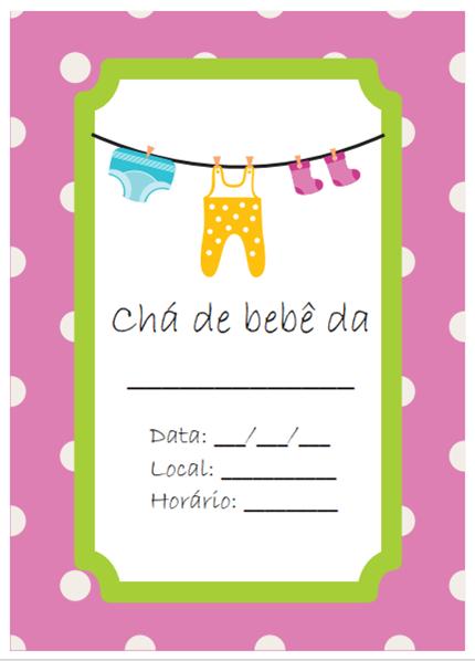 convite de cha de bebe