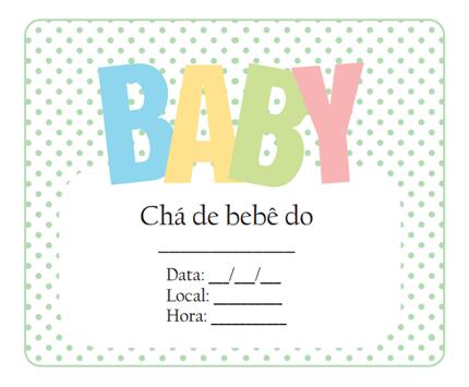 convite para cha de bebe