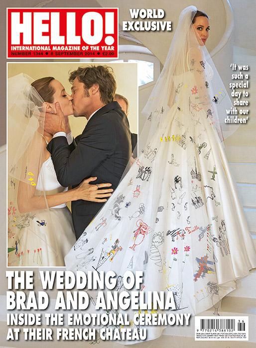 O casamento de Brad e Angelina: os lindos desenhos dos filhos no vestido