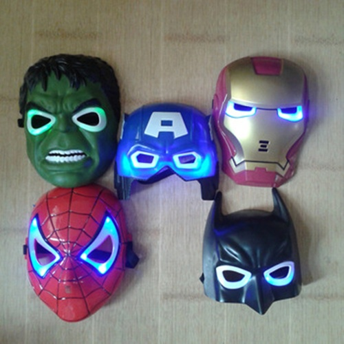 http://pt.aliexpress.com/item/5pcs-lot-New-The-Hulk-Captain-America-Batman-Spiderman-Ironman-LED-Glowing-Party-Mask-Birthday-Halloween/1385056568.html