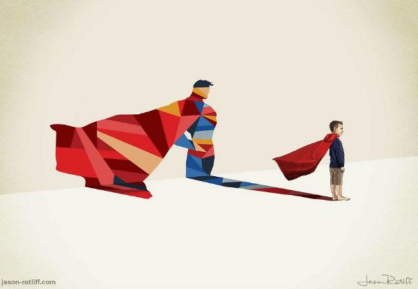 Ilustrador transforma as sombras das crianças em super-heróis!