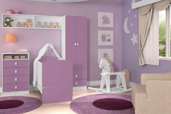 20 ideias de quarto para bebê lilás!