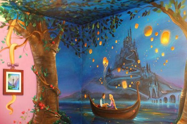 Mãe faz quarto incrível da Rapunzel para sua filha