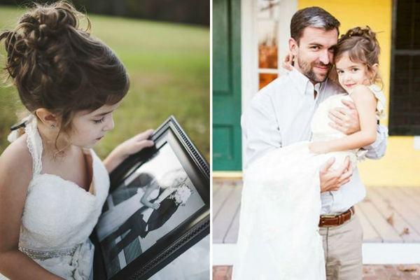 Menina faz ensaio emocionante com vestido de noiva da mãe