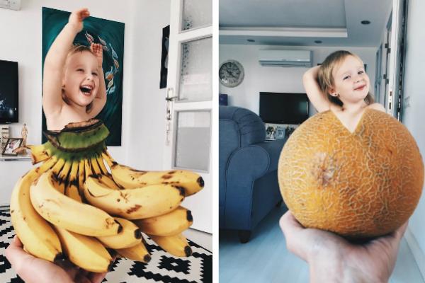 Mãe faz vestidos de vegetais para fotografar a filha