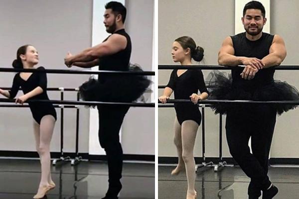 Pai faz aula de balé com a filha, diverte e emociona internet
