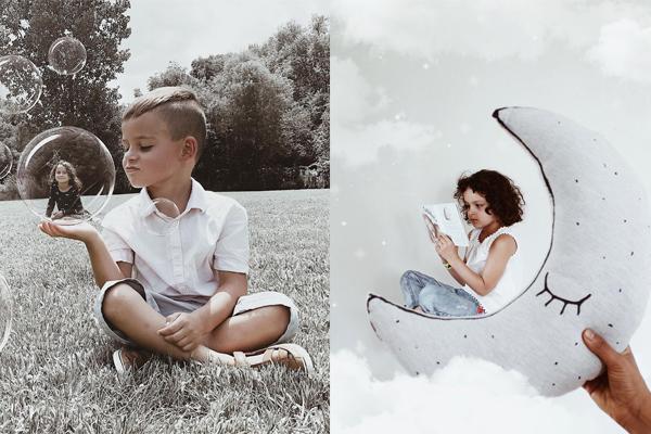 Família registra rotina com cinco filhos em fotos com efeitos especiais (para se inspirar)