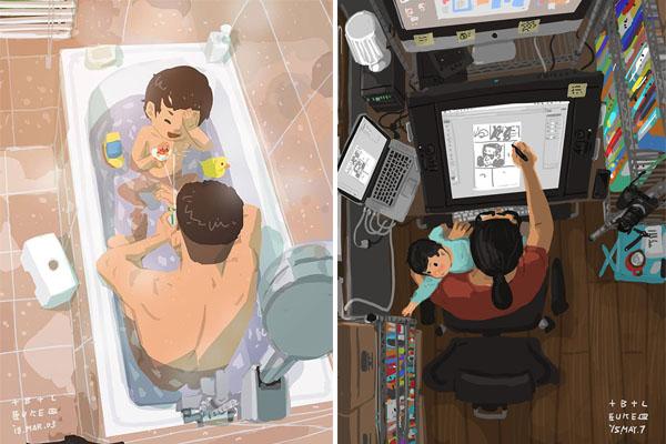 Pai ilustra rotina com o filho em imagens emocionantes