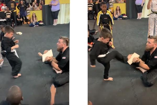 Em apresentação de karatê, garotinho e amigos ensinam que nunca devemos desistir (assista!)