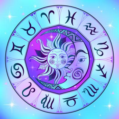 mapa astral - ilustração de sol, lua e dos signos